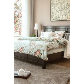 Giường ngủ gỗ sồi giá rẻ màu vân gỗ óc chó đẹp
