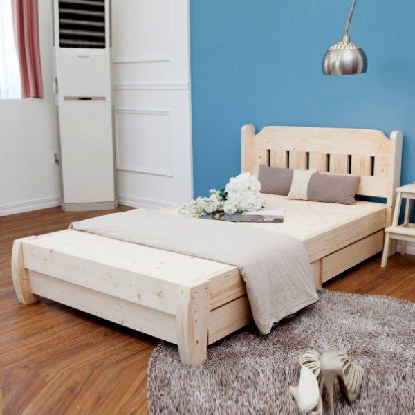 Giường ngủ gỗ thông tự nhiên giá rẻ có ngăn kéo hiện đại