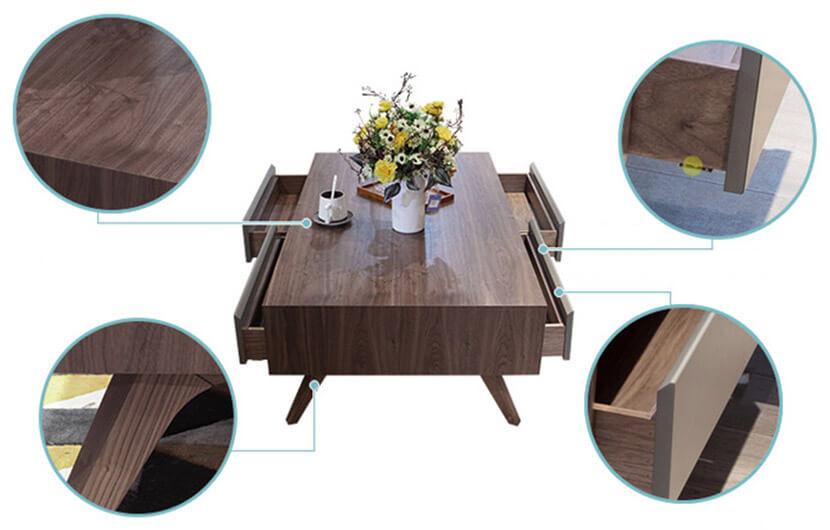 Bàn trà gỗ sồi tự nhiên cao cấp vân gỗ màu óc chó đẹp