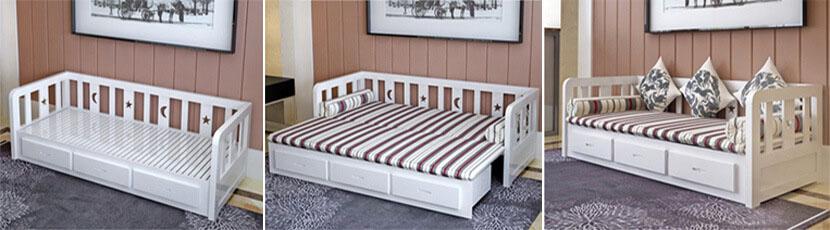 Ghế sofa gỗ thông minh kéo thành giường ngủ đẹp